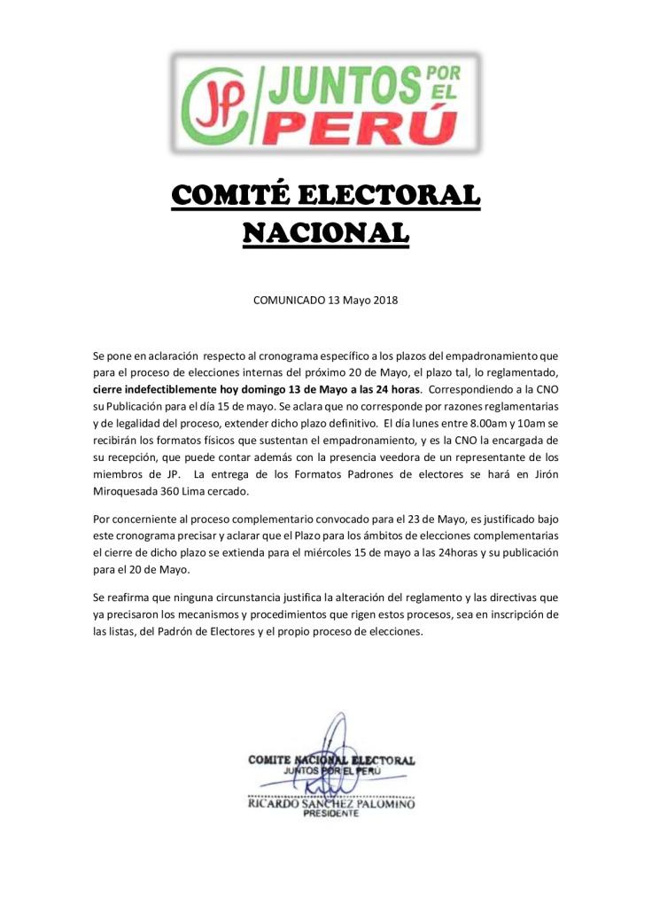COMUNICADO C.N.E 13 de Mayo 2018-001