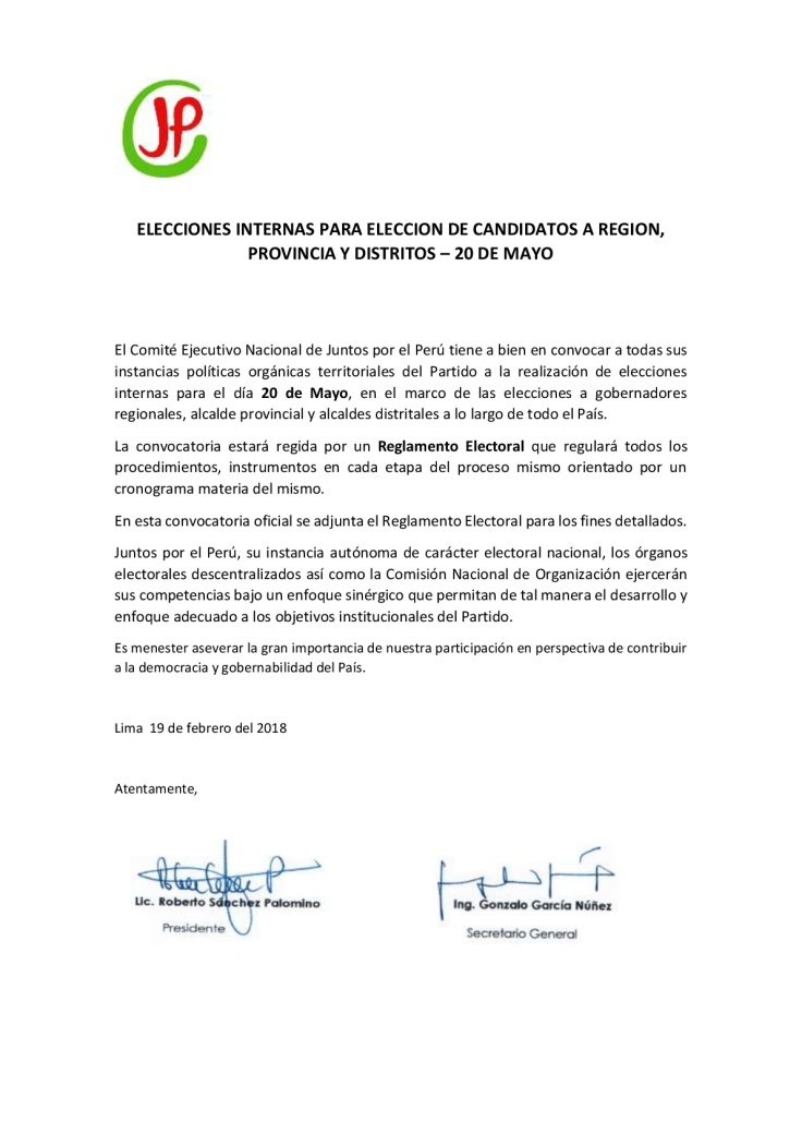 Convocatoria Elecciones 20 de Mayo JP - CEN-001